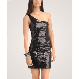 Black One Shoulder Sequin Dress Size Small